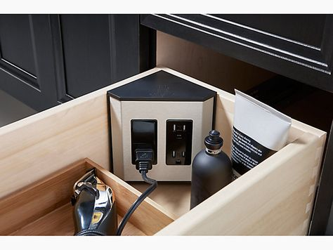Enjoy an uncluttered vanity top with the aid of the in-drawer electrical strip. For use with all KOHLER Tailored vanities with a full-height drawer. Diy Kitchen Storage, Small Bathroom Storage, Kitchen Appliance Storage, Appliance Garage, Kitchen Outlets, Large Shower Heads, Build Your House, Vanity Drawers, Vintage Bathrooms