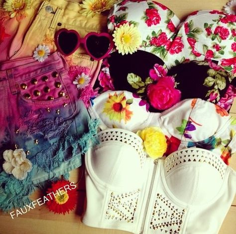 Bustier Hipster Outfits for Girls | tank top hipster studded bustiers bustier bralette bralet floral ...