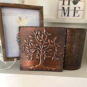 Tree Of Life Set Of 4 Tree Of Happiness Metal Wall Art Etsy Copper Decor Copper Art Metal Wall Art
