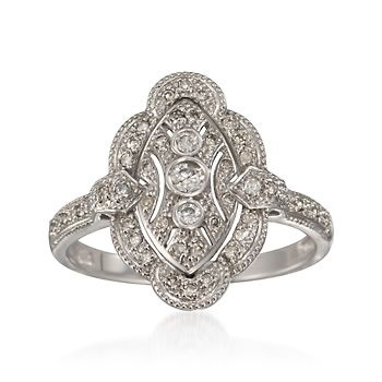 C. 2000 Vintage, Antique Inspired .33 ct. t.w. Diamond Ring in 14kt White Gold, $766.50