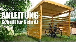 Fahrrad Unterstand Aus Holz Selber Bauen Mrhandwerk Fahrrad Unterstand Fahrradgarage Fahrrad Aufbewahrung