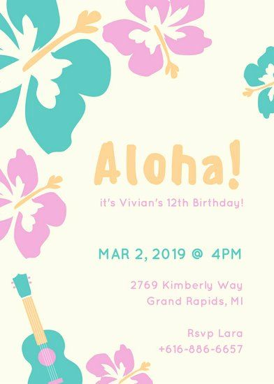 35 Hawaiian Party Invitation Template In 2020 With Images Party Invite Template Party Invitations Party Invitations Printable