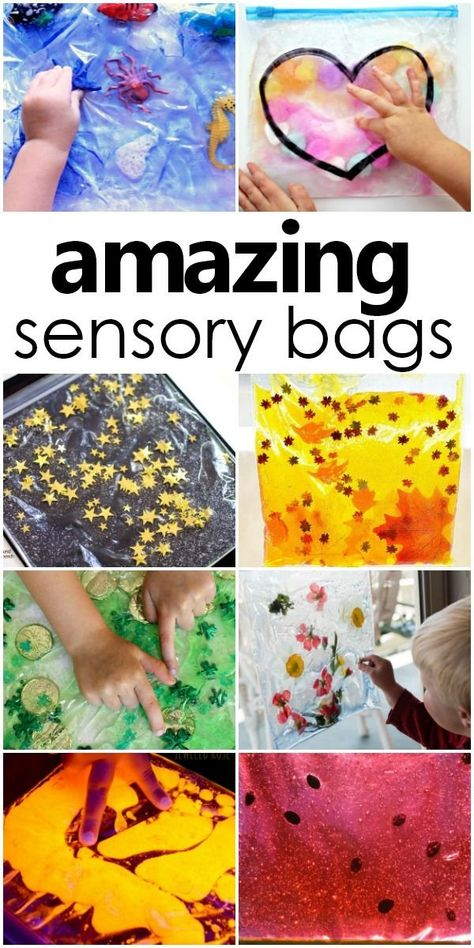 Sensory squish bags provide the perfect mess-free quiet time sensory activity. Besides the mess-free sensory play, squish bags encourage hands-on exploration and make for great learning tools to spark conversations and build vocabulary with babies, toddle Infant Sensory Activities, Baby Sensory Play, Toddler Learning Activities, Fun Learning, Preschool Activities, Learning Tools, Baby Sensory Bags, Sensory Activities For Toddlers, Indoor Activities