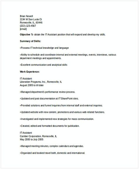 Operation Manager Resume It Executive Assistant Resume  It Operations Manager Resume  Do