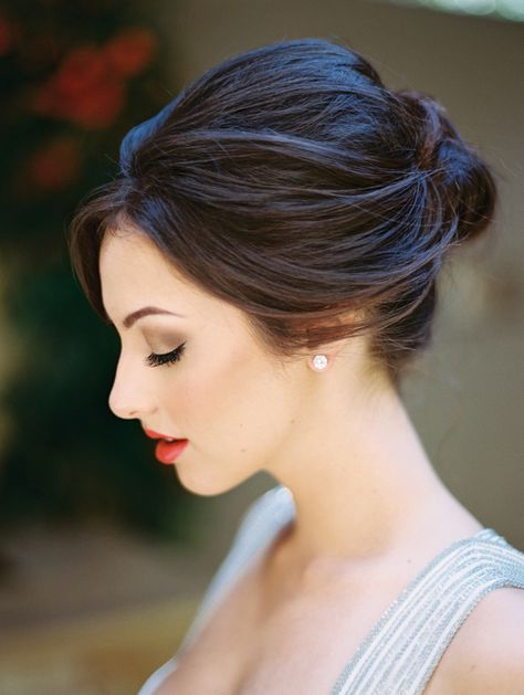 Gorgeous Bridal Updo with a Dramatic Lip   Allen Tsai Photography   http://heyweddinglady.com/edgy-modern-wedding-dramatic-blood-orange-black/