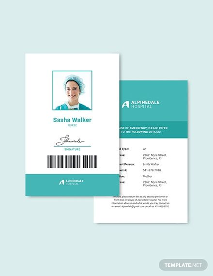 Hospital Staff Id Card Template Word Doc Psd Apple Mac Pages Illustrator Publisher Id Card Template Card Template Employee Id Card