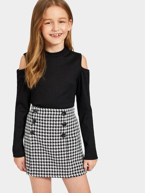 Girls Cold Shoulder Rib-knit Tee and Houndstooth Skirt Set   SHEIN