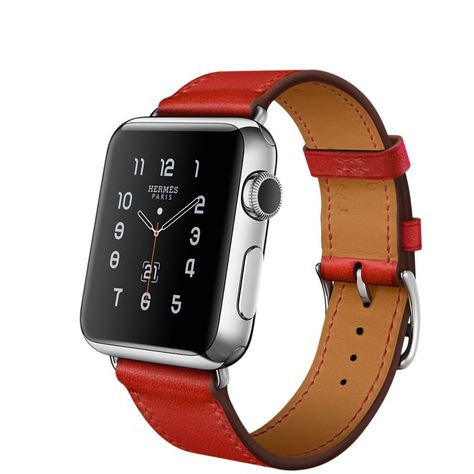 Apple Watch Hermès Single Tour, 38mm Stainless Steel Case with Capucine Leather Band - Apple