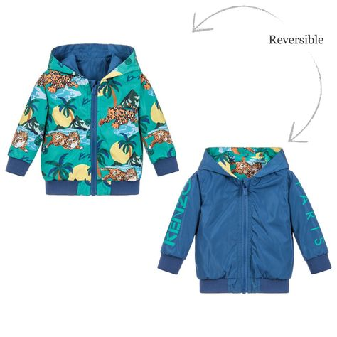 7ae1d27e Reversible rain jacket for little boys by luxury brand Kenzo Kids. The  green Surfing Tiger