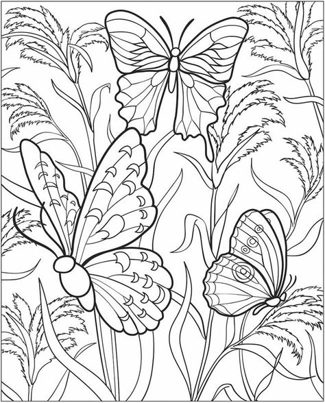 hearts and butterflies coloring page free printable - 580×720