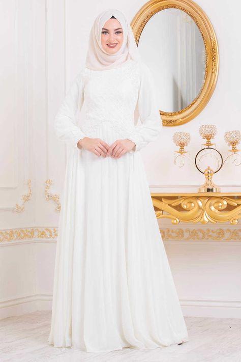 f6eb70e29b5a Neva Style - Ecru Hijab Evening Dress 4579E in 2019   Hijabii my ...