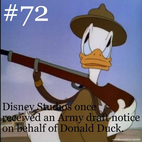Disney Studios once received an Army draft notice on behalf of Donald Duck.