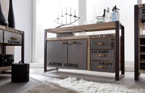 FACTORY Sideboard #133, Eisen u Mangoholz bedruckt Wohnen im - sideboard für küche