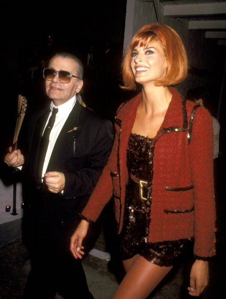 Karl Lagerfeld and Linda Evangelista during 'Off the Street' Citizens' Commitee for Children of New York Presented by Chanel, 1991 at Bergdorf in NYC.