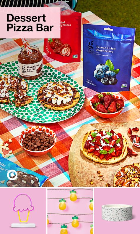Pizza for dessert? What's not to love! Find easy recipes  cute topping ideas to set up your own dessert pizza bar.