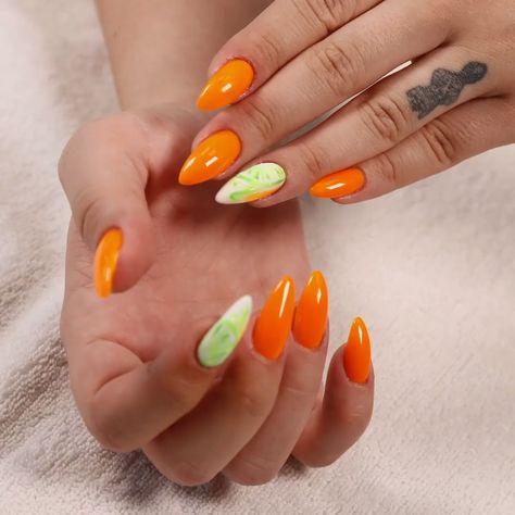 SUMMER LIME DESIGN NAILS #nailart #lime #nails #orange