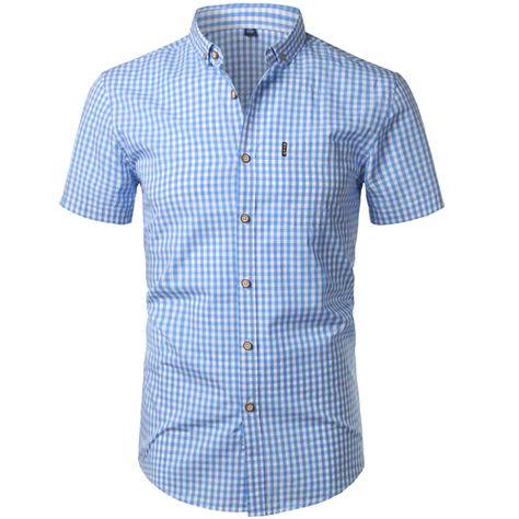 Small Plaid Men Short Sleeve Button Down Shirt SF – loveitbabe