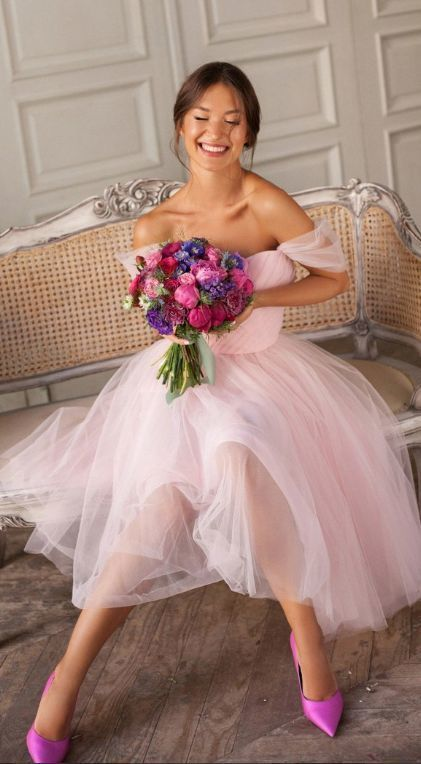 Princess Off The Shoulder Short Pink Party Dress Cr 4662 In 2020