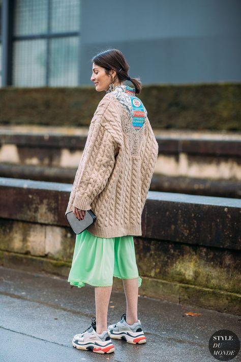 Paris FW 2018 Street Style: Irina Linovich Irina Linovich by STYLEDUMONDE wearing knitted oversized aran cardigan and ugly sneakers Street Style Fashion Photography