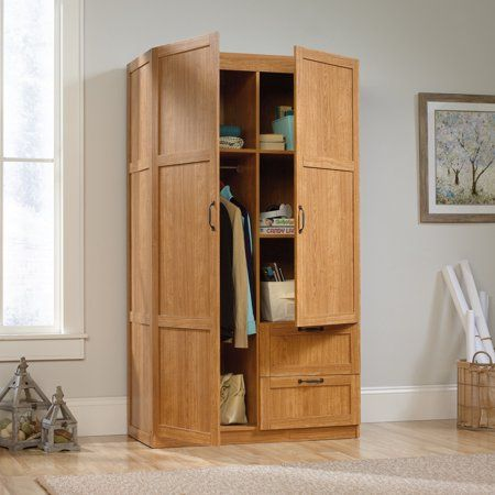 Sauder Select Storage Cabinet Highland Oak Finish Brown