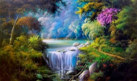 Still Nature Forests Nature Background Wallpapers On Desktop Nexus Waterfall Paintings Nature Art Painting Landscape Art