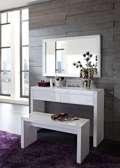 Meuble coiffeuse en blanc et en du0027autres couleurs u2013 30 idées - meuble coiffeuse avec miroir pas cher