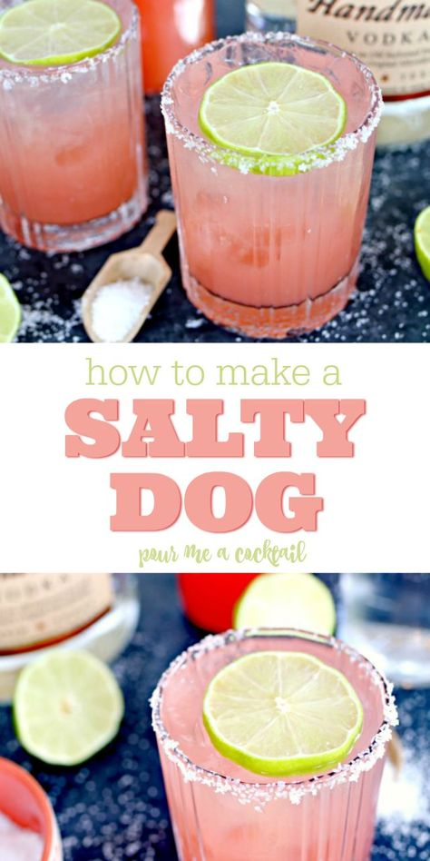 The Salty Dog Cocktail is so delicious and refreshing. Made with grapefruit juice, vodka and a hit of lime, it's the perfect drink for hot summer days or chilling with friends on a patio or boat! Drinks Salty Dog Cocktail Recipe - The Perfect Summer Drink Grapefruit Juice And Vodka, Grapefruit Cocktail, Grapefruit Recipes, Pineapple Cocktail, Grapefruit Margarita Recipe, Cucumber Cocktail, Pineapple Drinks, Jalapeno Margarita, Pineapple Lemonade