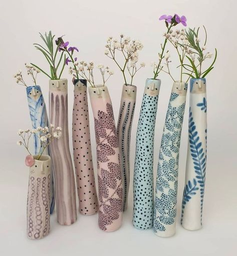 Elongated cylinder, pottery / clay / ceramic character vases by The Pottery Parade on FB/Etsy Mccoy Pottery Vases, Hull Pottery, Raku Pottery, Antique Pottery, Slab Pottery, Handmade Pottery, Thrown Pottery, Handmade Ceramic, Painted Pottery