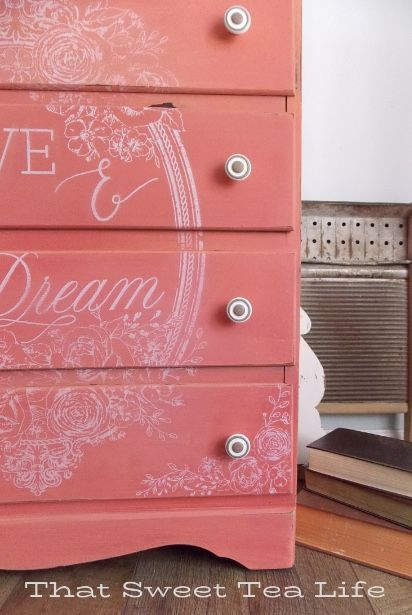 Flamingo Dixie Belle Paint Is The Best Coral Ever Girl Dresser Coral Painted Dressers Painted Furniture For Sale
