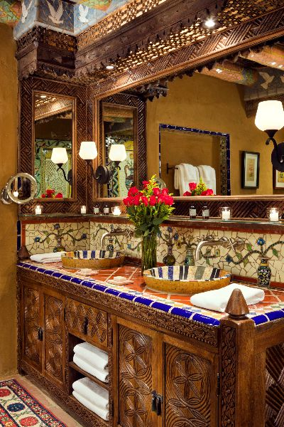 Smart to put ledge above sinks and below mirrors for candles, cosmetics, etc. Lots of mosaic in this bathroom and intricate wood cabinets Spanish Style Bathrooms, Spanish Style Homes, Spanish House, Hacienda Style Homes, Mexican Home Decor, Mexico House, Modern Rustic Homes, Aesthetic Rooms, Home Design Plans