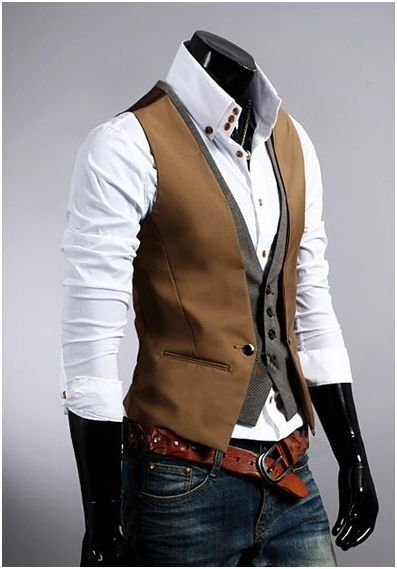 Kvalitná dvojitá pánska vesta ku obleku v hnedej farbe Mens Suit Vest, Mens Suits, Gilet Costume, Look Fashion, Fashion Check, Street Fashion, Spring Fashion, Men's Vest Fashion, Men Fashion Casual