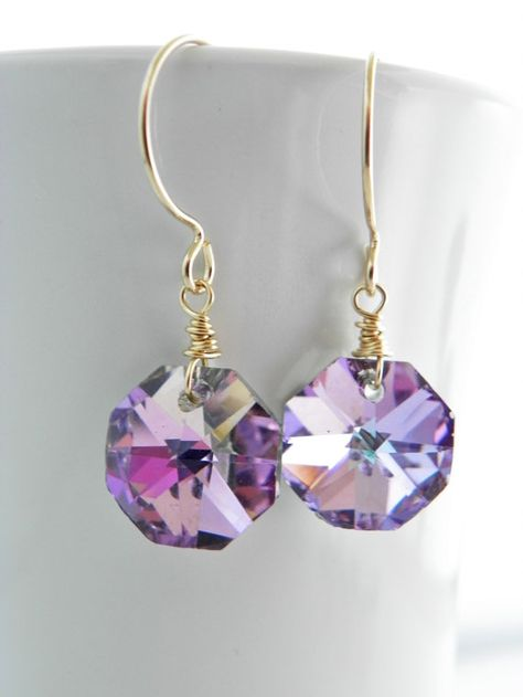 Pink Crystal Earrings Vitrail Light Gold Filled by EstyloJewelry #EstyloJewelry #pinkjewelry