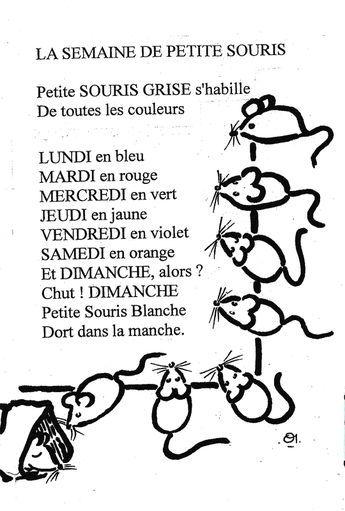 Comptine Des Jours De La Semaine En Noir Et Blanc La Semaine De Petite Souris Comptines Comptine Illustree Comptine Maternelle