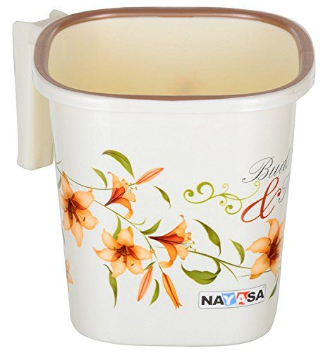 Nayasa Classical Strong Plastic Bathroom Bucket With Mug 25 L Off White 2 Pieces Cleaning Supplies Mugs Home Improvement