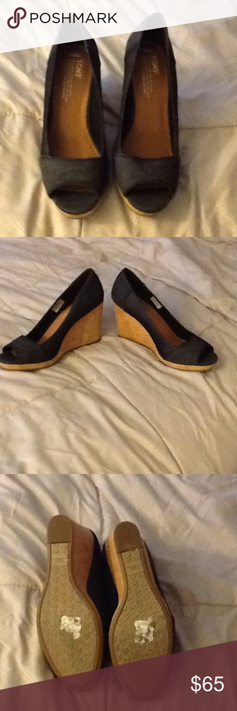 Toms Shoes 80% OFF!> Toms peep toe❤️❤️❤️sold Only wore once for a few hrs denim Toms peep toe wedges super comfortable but to big for me so basically brand new TOMS Shoes Wedges #Toms #Tomsshoes #shoes #style #Accessories #shopping #styles #outfit #pretty #girl #girls #beauty #beautiful #me #cute #stylish #design #fashion #outfits #diy #design