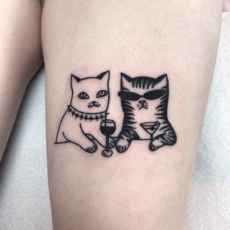 Cat tattoo by Katya Krasnova By Katya Krasnova Jul 2019 1095550 Future Tattoos, Love Tattoos, Tatoos, Ocean Tattoos, Circle Tattoos, Retro Tattoos, Funny Tattoos, Unique Tattoos, Cat Tattoo