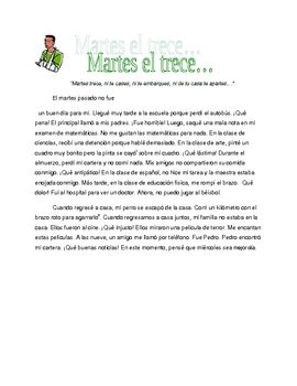 Martes Trece Short Story Reading In Preterite Tense Preterite Tense How To Speak Spanish Reading Practice