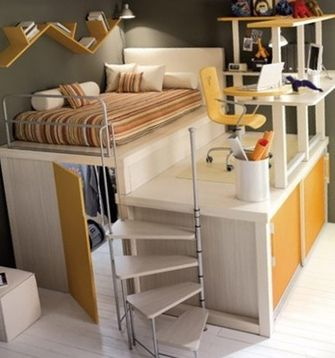 Bed with desk attached