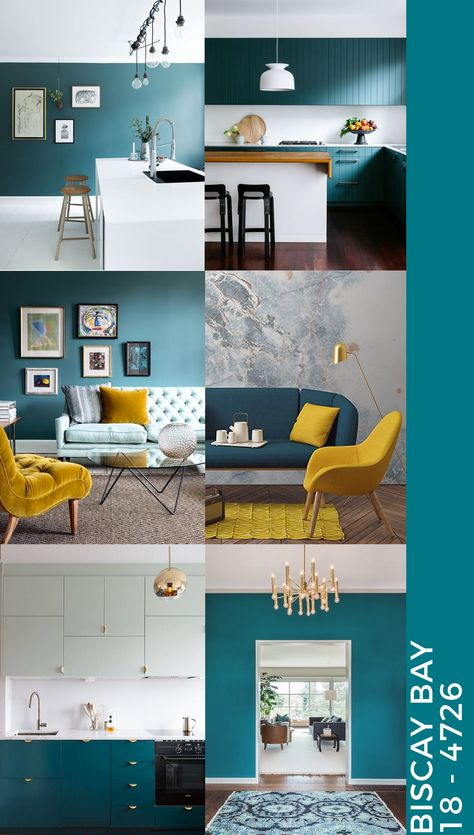 Teal interiors: how to decorate with teal? Biscay Bay is one of the color of this spring. How to use it in interior design?