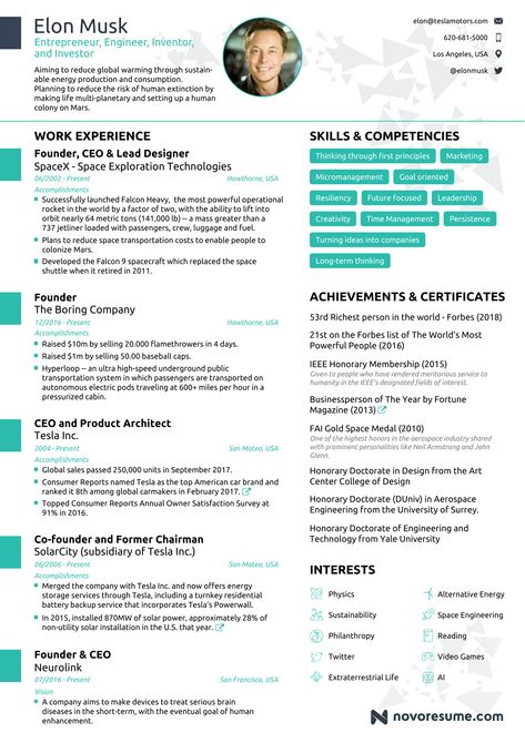 A resume writing firm created a one page resume for Elon Musk