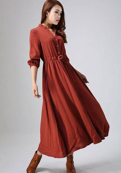 5a8f9abc10 Rust red dress linen dress Casual dressmaxi dress shirt