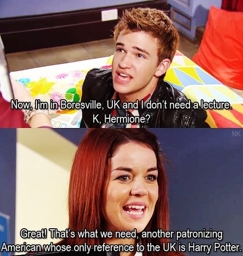 Patricia and Eddie. House of Anubis. Haha i really wish i was british so i could say this