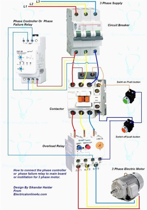 Wiring Diagram For Motor Starter 3 Phase Controller Failure Relay Electrical Pleasing Three Electrical Wiring Electrical Panel Wiring Electrical Wiring Diagram