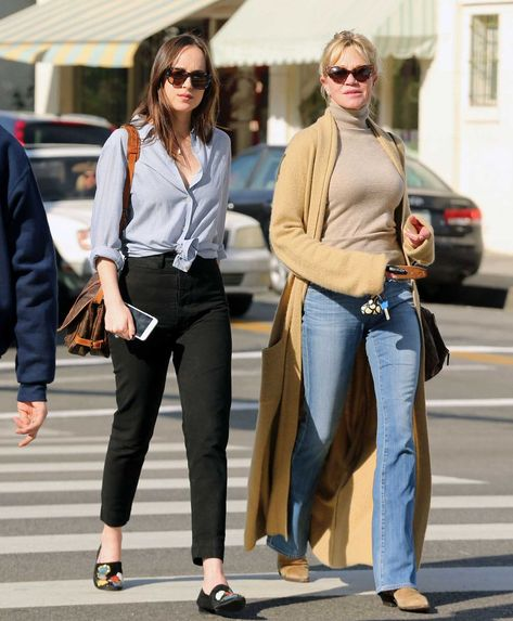 Dakota Johnson in Los Angeles, California with her mom Melanie Griffith on March 20