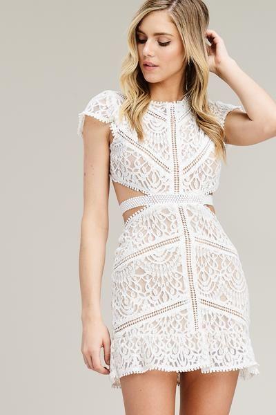 Claire Lace Cutout Dress White Lace Cutout Mini Dress Modnye Platya Platya Povsednevnye Platya