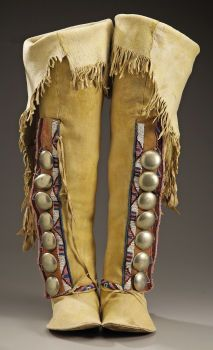 American Indian Art:Beadwork and Quillwork, A PAIR OF KIOWA WOMAN'S BEADED HIDE BOOT MOCCASINS. c. 1880...(Total: 2 Items)