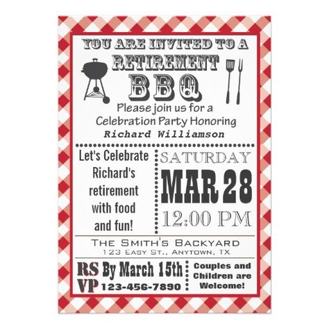 Traditional Retirement Party BBQ Invitation