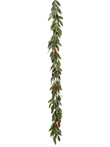Outdoor Fake Bay Leaf Garland With Red Berries 6 Long Outdoor Christmas Garland Leaf Garland Red Berries
