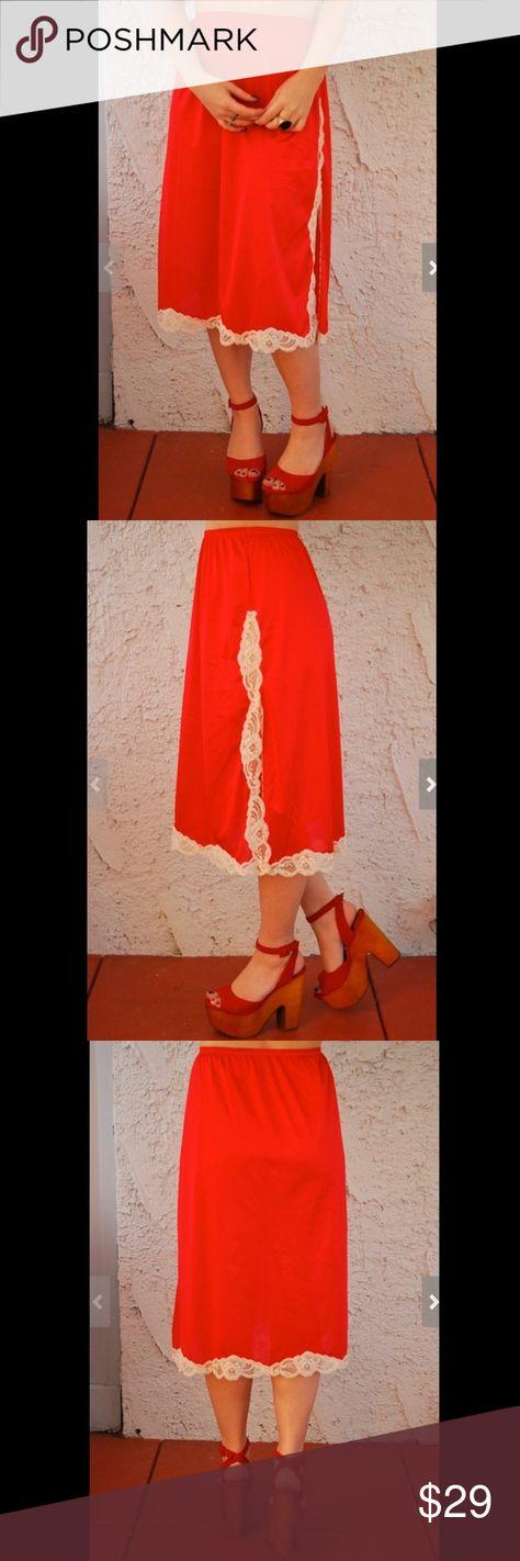 Vintage 1960s CHERRY RED Vanity Fair Half Slip - M circa early 1960s  Gorgeous cherry red half slip with 13
