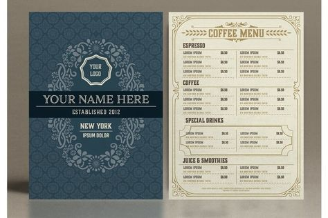 Restaurant Menu Layout with Ornamental Elements (935024) | Products | Design Bundles